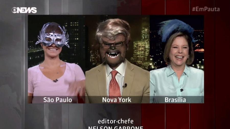 Jornalista da Globo News aparecem caracterizados para Carnaval - Reprodução/Globo News