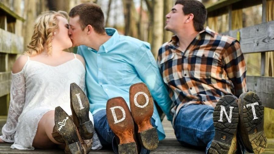 O casal Brittney e Kody fez fotos engraçadas com Mitch, melhor amigo e padrinho do noivo - Reprodução/Country Roads