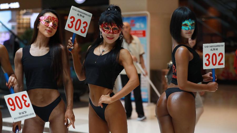 """Competidoras do Miss Bumbum da China, chamado de """"Beautiful Buttocks Contest"""" - AFP"""