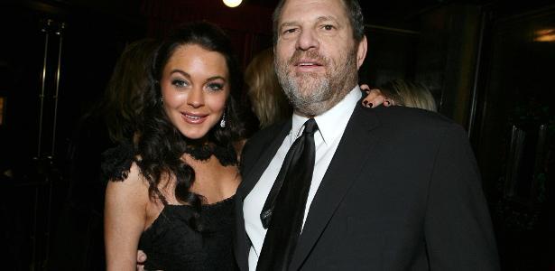 A atriz Lindsay Lohan e o produtor Harvey Weinstein, acusado de assédio por dezenas de atrizes de Hollywood