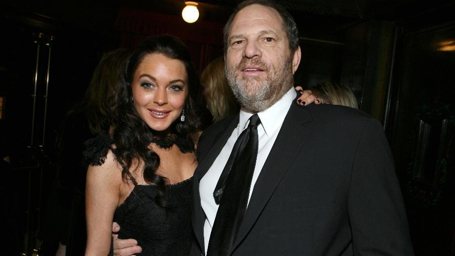 A atriz Lindsay Lohan e o produtor Harvey Weinstein, acusado de assédio por dezenas de atrizes de Hollywood - Reprodução