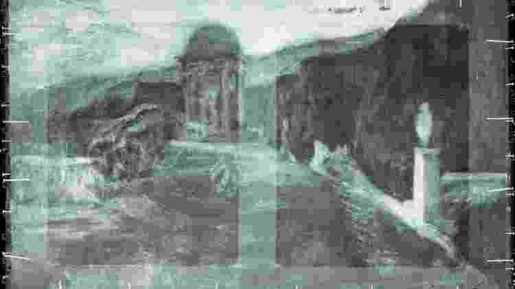 Cientistas encontraram vestígios de uma antiga pintura retratando paisagem - AGO/Reprodução - AGO/Reprodução