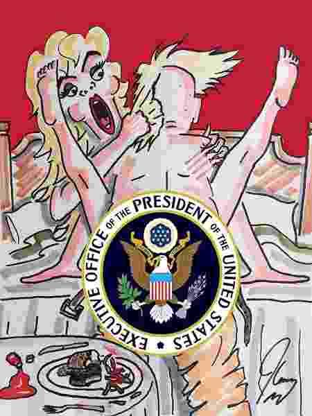 Pintura de Jim Carrey mostra aventuras sexuais do presidente Donald Trump - Reprodução/Twitter - Reprodução/Twitter