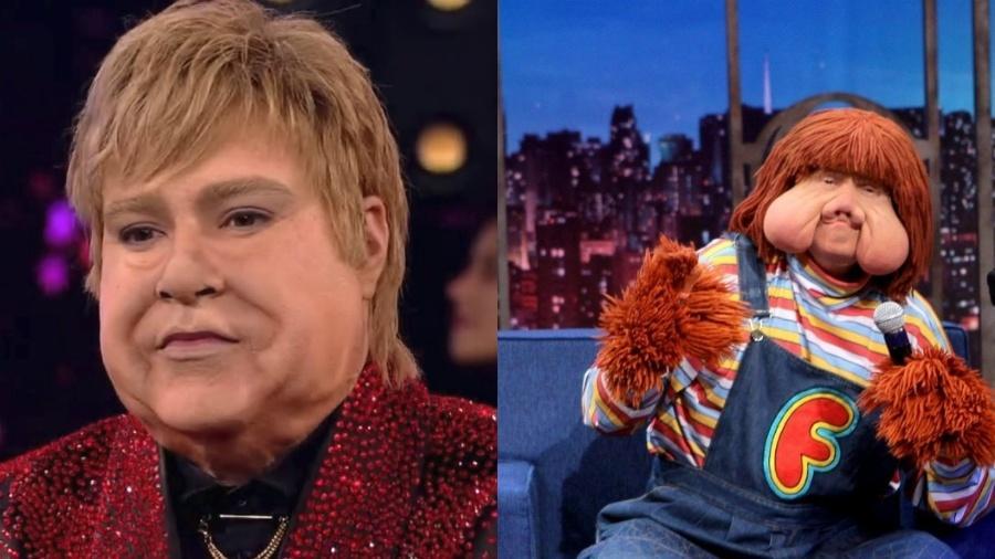 """Tiago Abravanel como Elton John no """"Show dos Famosos"""": alguém lembrou do Fofão? - Reprodução/Divulgação/Globo/SBT"""
