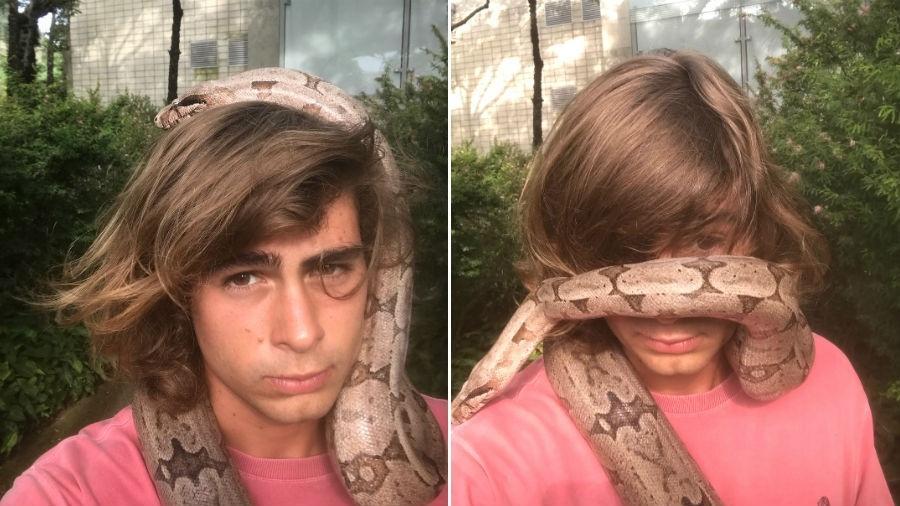 Rafael Vitti brinca com cobra no pescoço - Reprodução/Instagram