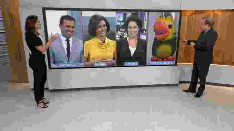 """Louro José divide telão com jornalistas no """"Bom Dia Brasil"""" - Reprodução/TV Globo"""