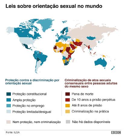 Mapa da BBC sobre direitos LGBTQ+ ao redor do mundo - BBC