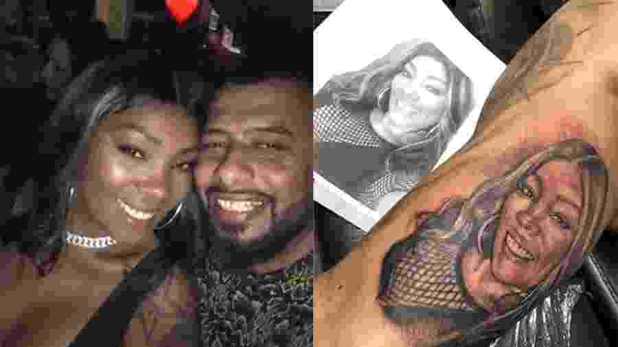 Silvana, mãe de Ludmilla, se surpreende com tatuagem do seu rosto feita pelo namorado, Renato Araújo - Reprodução/Instagram