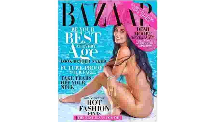 """Demi Moore na capa da Harper""""s Bazaar - Divulgação"""