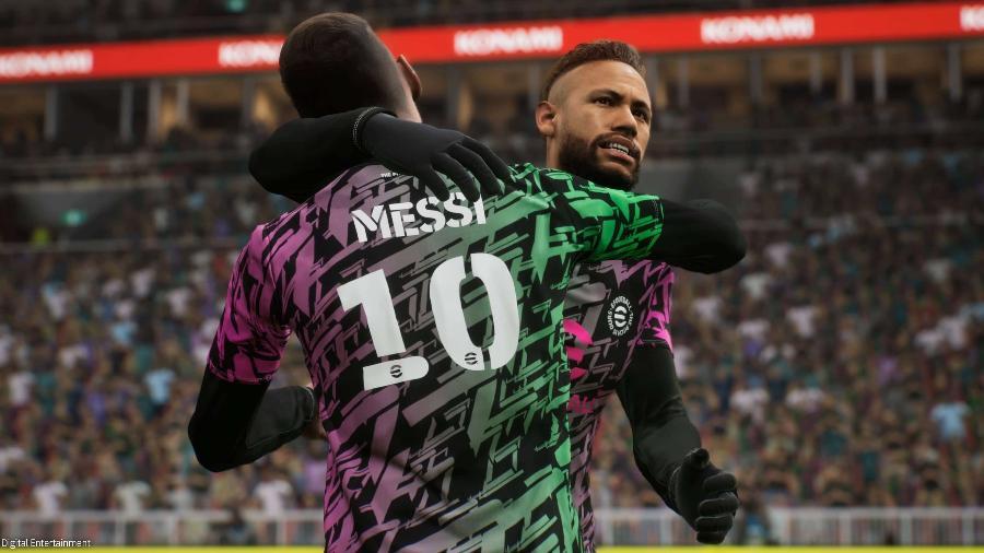 Imagem de Neymar e Messi no jogo eFootball 2022 - Divulgação/Konami