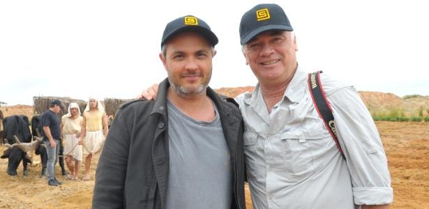 """Alexandre Avancini, diretor de """"Os Dez Mandamentos"""", e Sam Nicholson, fundador da empresa responsável pelos efeitos especiais da abertura do Mar Vermelho - Munir Chatack/TV Record"""
