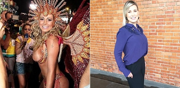 Andressa Urach no Carnaval de 2104 (à esq.) e atualmente
