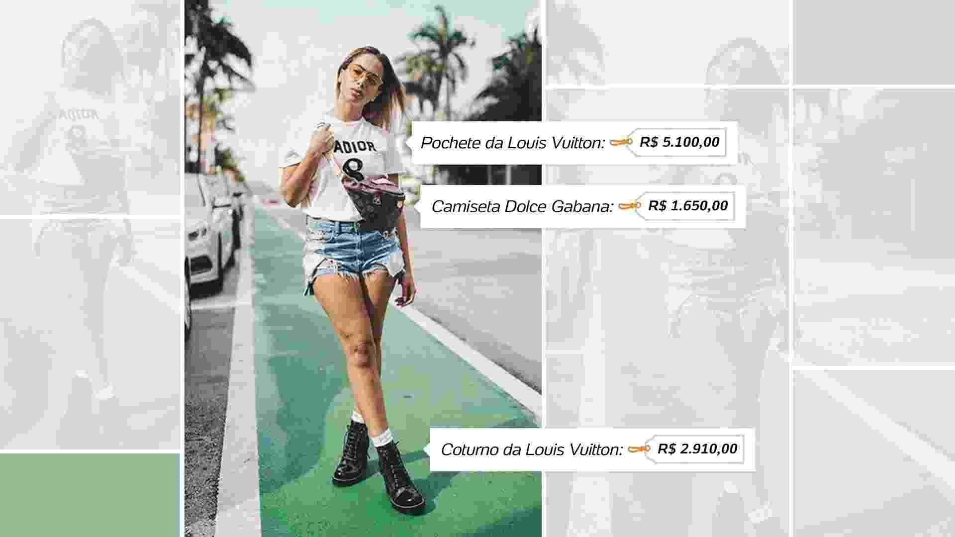 A pochete da Louis Vuitton, vendida por R$ 5.100,00, é uma peça bastante usada por Anitta em suas viagens no exterior - Reprodução/Instagram/Arte UOL
