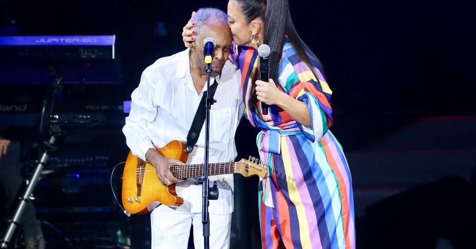 Ivete Sangalo e Gilberto Gil em inauguração de novo espaço no Allianz Parque, em São Paulo