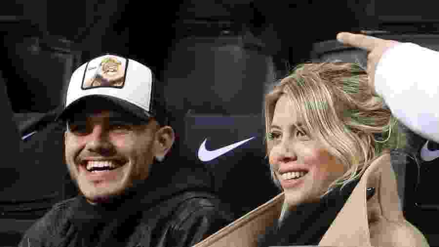 Mauro Icardi sorrri ao lado de Wanda Nara, sua esposa e empresária - EFE