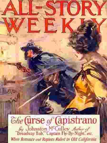 Estreia de Zorro no romance The Curse of Capistrano - Reprodução