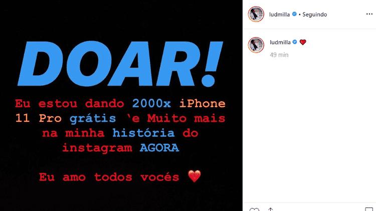 Mensagem postada no Instagram de Ludmilla - Reprodução/Instagram