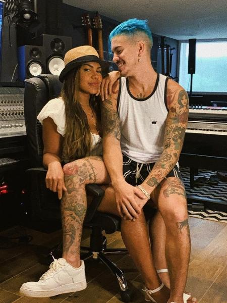 Biel e Tays no estúdio de gravação da sua nova música, Artigo 157. - Reprodução/Instagram
