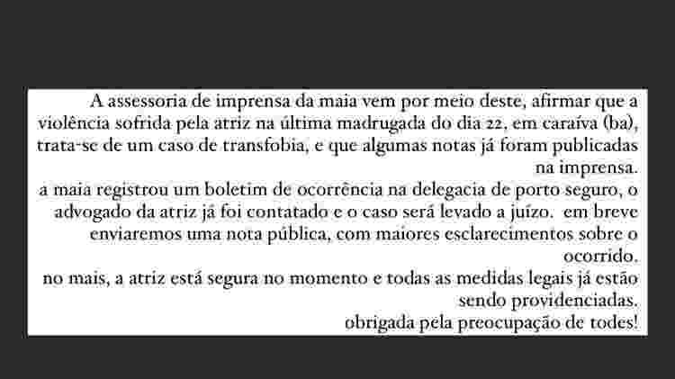 Equipe de Marcella Maia compartilhou comunicado nas redes sociais da atriz - Reprodução/Instagram @mmaia - Reprodução/Instagram @mmaia