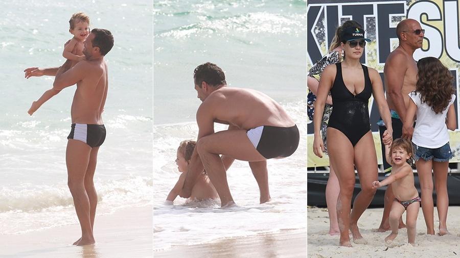 Dois meses após o nascimento da filha caçula, Malvino Salvador e Kyra Gracie curtem dia de praia com a primogênita do casal