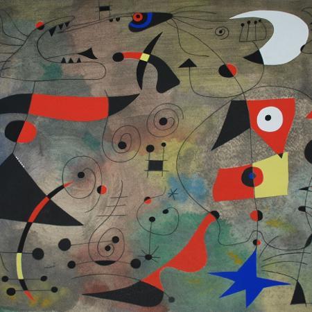 """""""Femme et Oiseaux"""", de Joan Miró - Reprodução"""