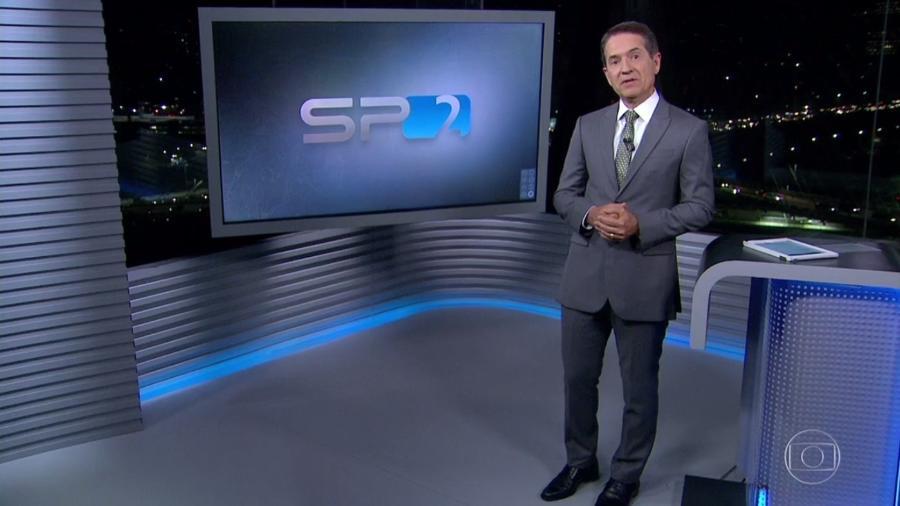 "Carlos Tramontina apresenta o ""SPTV 2ª Edição"", telejornal local da Globo - Reprodução/TV Globo"