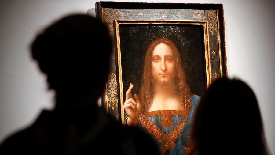 """O quadro de Leonardo da Vinci, """"Salvator Mundi"""", foi leiloado por US$ 450,3 milhões - Tolga Akmen/AFP"""