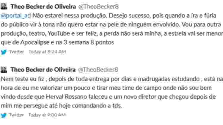 Theo Becker desabafou no Twitter - Reprodução/Twitter - Reprodução/Twitter