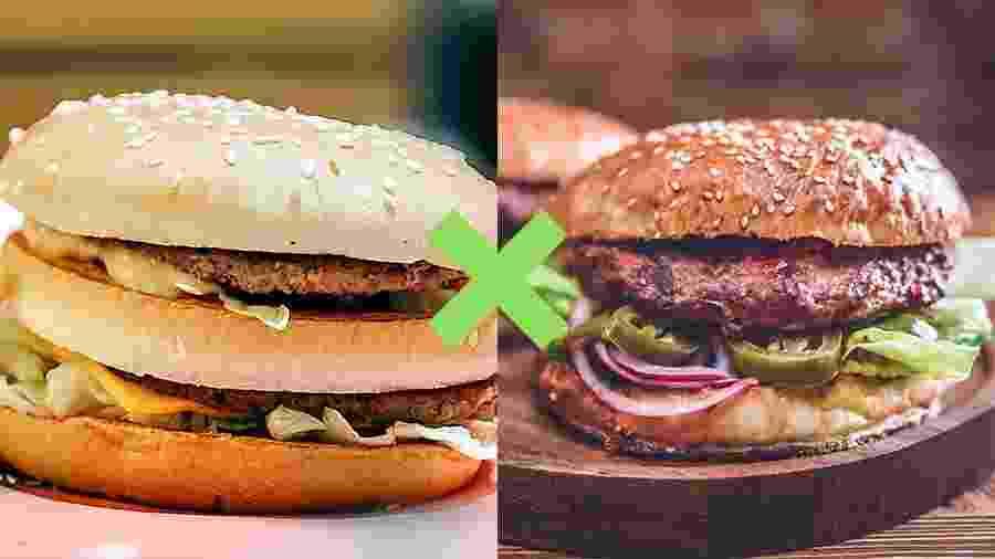 Hamburguer fast-food versus caseiro - iStock