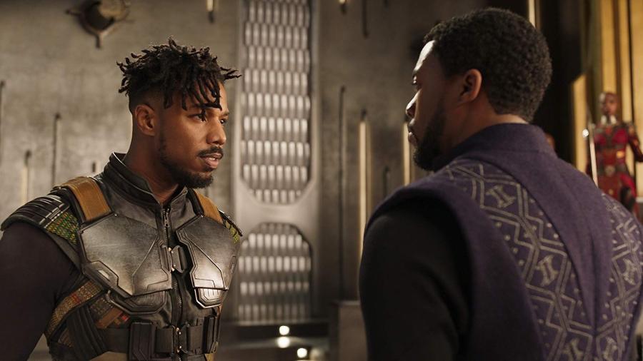 "Michael B. Jordan e Chadwick Boseman em ""Pantera Negra"" (2018) - Divulgação"