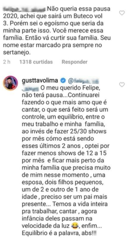 Gusttavo Lima responde a seguidor - Reprodução/Instagram