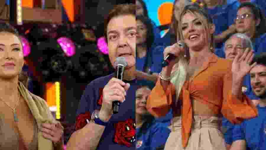 Faustão interage com a repórter Daiane de Paula e com a bailarina Carol Miarelli - Reprodução/Globo/Montagem UOL