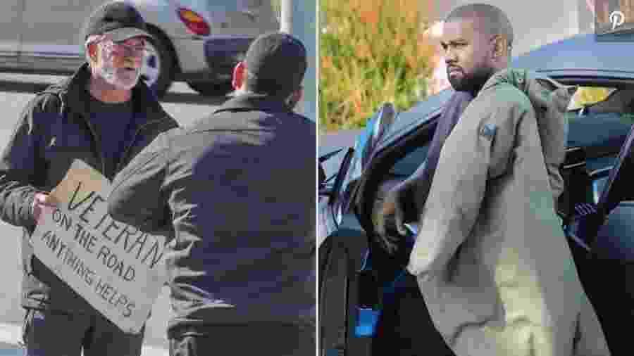 Kanye West para carro e ajuda morador de rua - Reprodução/People.com