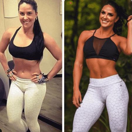 Graciele Lacerda em antes e depois publicado no Instagram - Reprodução/Instagram/@gracielelacerdaoficial