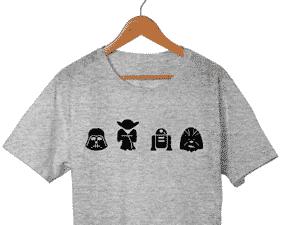 Camiseta Unissex Star Wars R2D2 Chewbacca Yoda Darth 100% Algodão - Divulgação - Divulgação