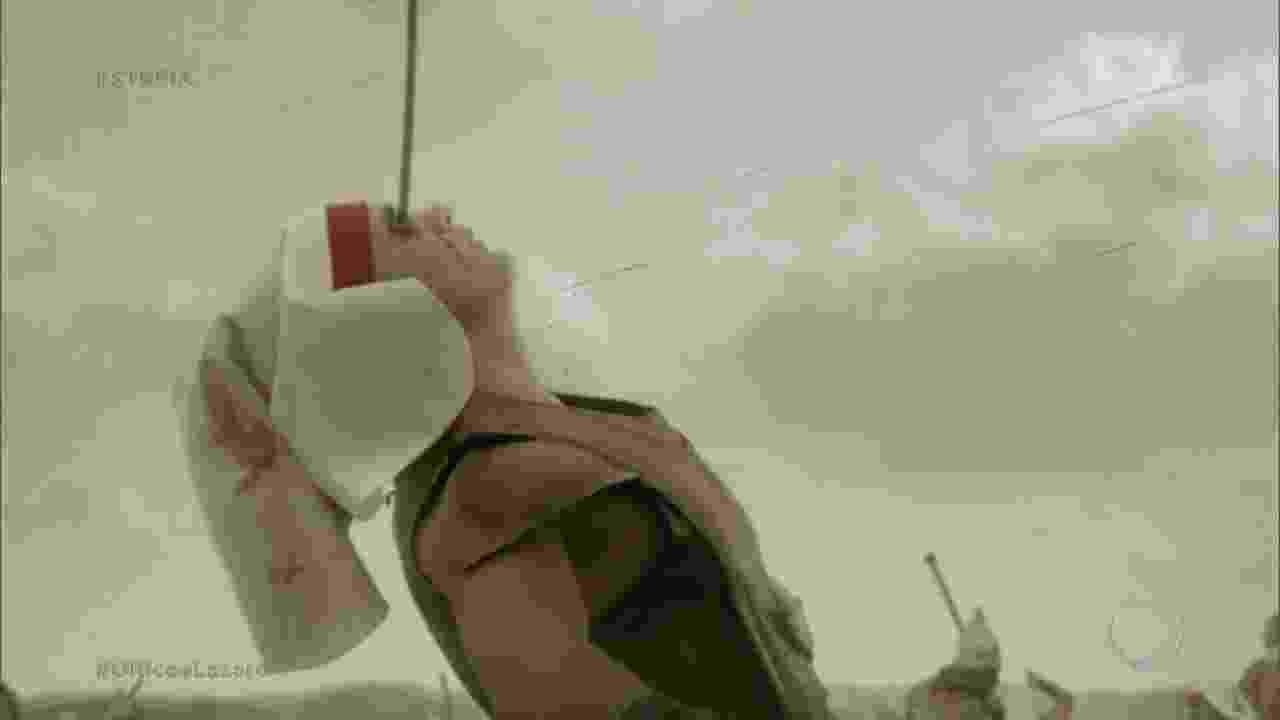"""Guerreiro tem olho perfurado por flecha em batalha entre os reinos da Babilônia e do Egito no capítulo de estreia de """"O Rico e Lázaro"""", novela bíblica da Record - Reprodução/RecordTV"""