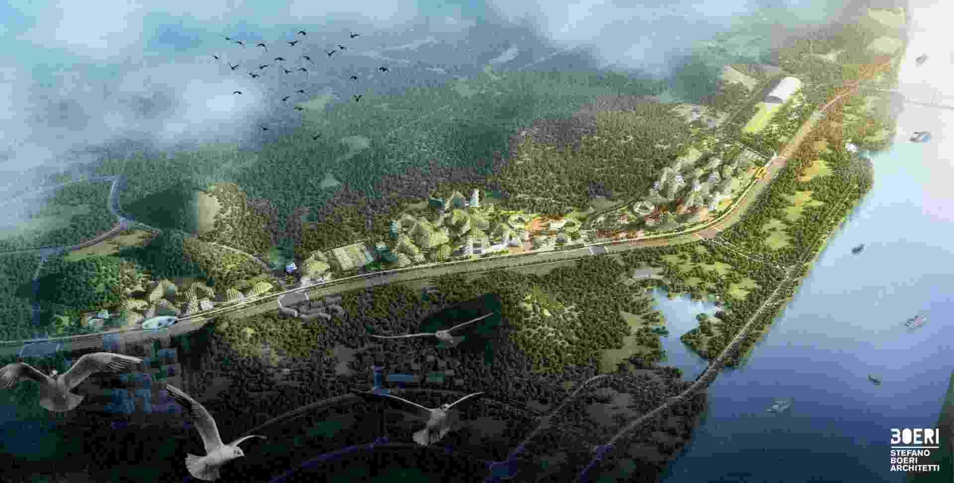 Um projeto ambicioso para uma cidade 100% ecológica está em andamento na região de Liuzhou, no sudoeste da China. - Divulgação/Site Oficial/ stefanoboeriarchitetti.net