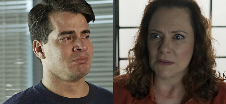 """Júlio (Thiago Martins) reencontra a mãe, Arlete (Elizabeth Savala), em """"Pega Pega"""" - Montagem/Divulgação/Reprodução/TV Globo"""