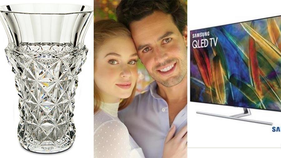 Marina e Xandinho pedem vaso de R$ 43.800 e TV de R$ 8.003,66 na lista de presentes do casamento - Reprodução