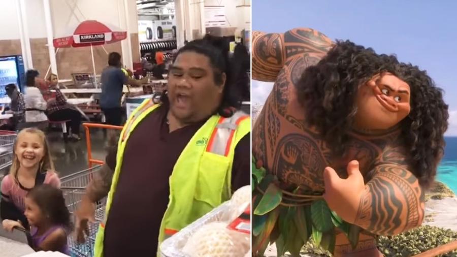 Maui da vida real é na verdade um caixa de supermercado havaino - Reprodução/Youtube/Divulgação