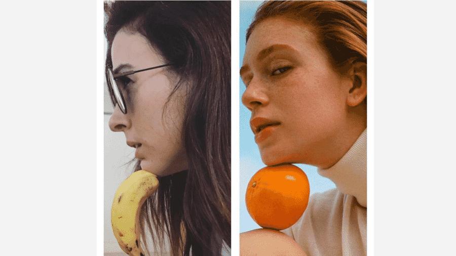 Tatá Werneck imita pose de Marina Ruy Barbosa, mas troca laranja por banana - Reprodução/Instagram