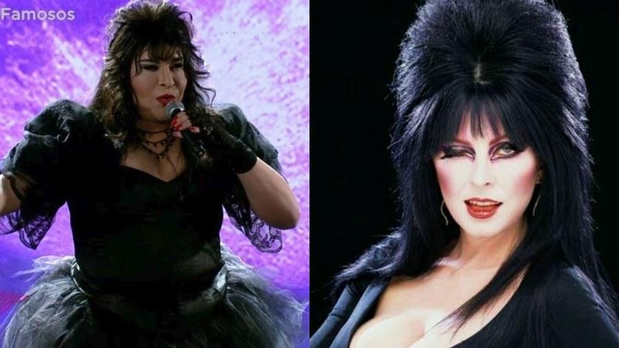 """Tiago Abravanel interpretou a cantora Rosanah, mas foi comparado à """"Elvira, Rainha das Trevas"""" - Reprodução/Globo/Twitter"""