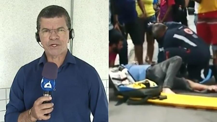 O repórter Marco Antônio, conhecido como Águia, que sofreu acidente de moto próximo ao trabalho, na TV Arapuan, afiliada da RedeTV! na Paraíba - Montagem/UOL/Reprodução/TV Arapuan
