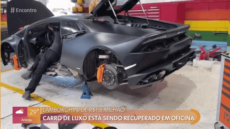 Lamborghini atingido por enchente é recuperado em oficina - Reprodução/Globoplay