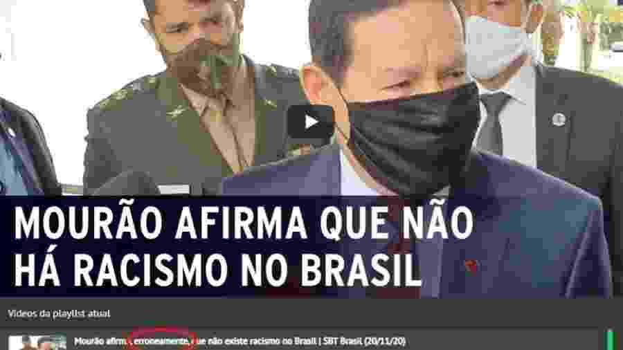 """""""SBT Brasil"""" criticou a fala do vice-presidente Hamilton Mourão sobre ausência de racismo no Brasil - Reprodução"""