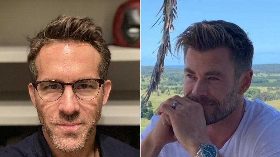 Ryan Reynolds e Chris Hemsworth vivem, respectivamente, Deadpool e Thor no universo cinematográfico da Marvel - Reprodução/Instagram