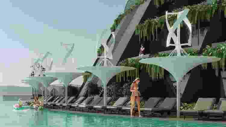 Representação em 3D do hotel 5 estrelas flutuante - Hayri Atak Architectural Design Studio - Hayri Atak Architectural Design Studio