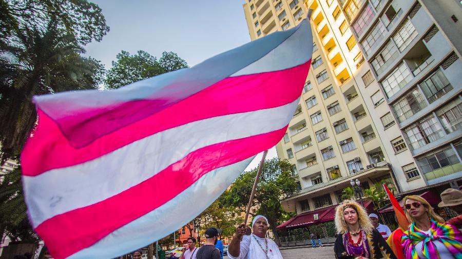 Ativistas participam da marcha contra a homofobia e a transfobia em São Paulo, em 2018 - Getty Images