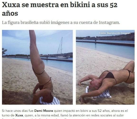 9.jul.2015 - No Chile, o site do Tele 13 destacou a boa forma de Xuxa Meneghel o site do Tele 13 disse que Xuxa Meneghel chamou a atenção das redes sociais ao postar fotos em traje de banho e mostrando um físico espetacular.