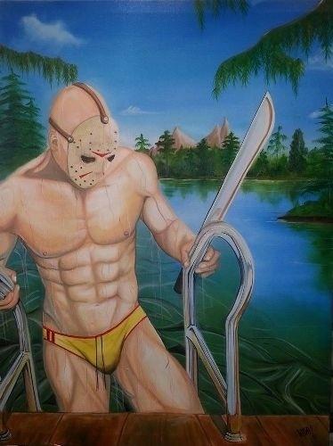 """Fã de filmes de horror, o artista britânico Karl von Frankenstein teve a ideia de retratar os três principais vilões dos filmes estilo """"slasher"""" dos anos 1980 em poses sensuais. Na imagem acima, Jason Voorhees, o assassino imortal de """"Sexta-Feira 13"""", mostra um belo físico ao sair da piscina. Junto com seu inseparável facão, é lógico."""
